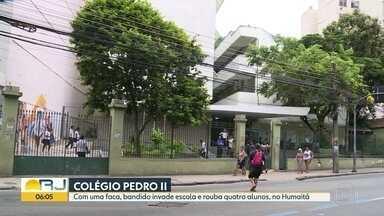 Bandido rouba alunos no Colégio Pedro II, no Humaitá - Alunos, professores e funcionários da unidade Humaitá, do Colégio Pedro II, viveram momentos de pânico na terça-feira (6).