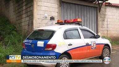 Barranca desaba sobre casa em Sabará, na Grande BH - Seis pessoas saíram do local sem ferimentos, segundo o Corpo de Bombeiros.