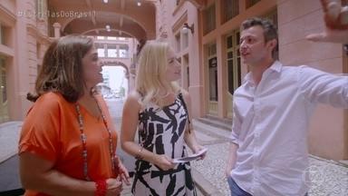 Angélica, Lucas Lima e Elizângela vão a Casa de Cultura Mario Quintana - A apresentadora e seus convidados foram conhecer um pouco a obra do poeta