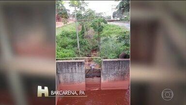 A Hydro Alunorte fecha o novo duto de despejo clandestino de resíduos de minério. - De acordo com o Ministério Público, o duto recebia resíduos da refinaria que eram despejados no rio Pará, sem tratamento.