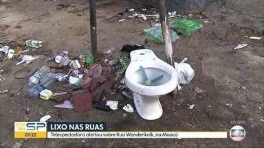 Ruas do centro e da zona leste de SP têm descarte irregular de lixo - Telespectadora indicou esquina suja na Mooca, na zona leste.