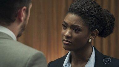 Raquel decide não ficar com Bruno por causa de Nádia - A juíza diz que continua amando o delegado, mas que a relação deles não tem futuro por causa da mãe dele