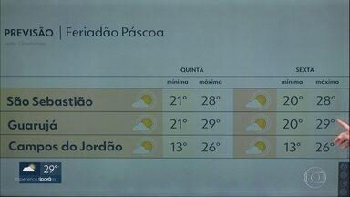 Feriadão vai começar com sol no litoral norte e na baixada santista - Capital tem possibilidade de chuva forte a partir da tarde.