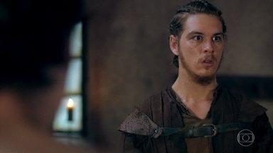 Saulo enxerga flashes enquanto conversa com Ulisses - Os dois conversam sobre a festa até que o guerreiro se sente mal