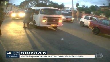 Veículos irregulares circulam pela Zona Oeste e não sofrem fiscalização - O RJ flagrou vans circulando pelas ruas da Zona Oeste, sem nenhuma fiscalização ou condições de segurança. Em Santa Cruz várias vans e kombis foram flagradas transportando passageiros.