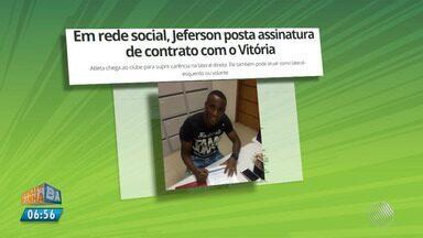 Com novo reforço, Vitória enfrenta o Internacional pela Copa do Brasil - Jogo acontece nesta quarta-feira (11) em Porto Alegre; o lateral-direito Jeferson é o novo reforço do rubro negro.