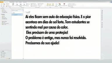Paulinho da Escola mostra reclamação de pais de alunos de colégio de Barra Mansa, RJ - Eles reclamam da falta de cobertura na quadra de esportes na Escola Municipal Joaquim Rodrigues Peixoto Junior, no bairro Boa Vista II.