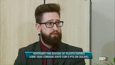 Paraná TV tira dúvidas sobre taxas cobradas junto com IPTU e LIXO - Advogado tributário e secretário de Finanças responderas perguntas de telespectadores.