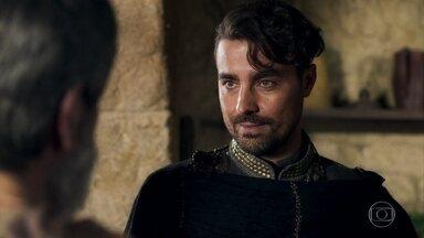 Virgílio questiona Martinho e Constância sobre o paradeiro de Amália - Ele invade a casa dos pais da ex-noiva e Afonso se esconde
