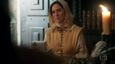 Lucrécia pede a Madre Benedita que lhe tranque no isolamento novamente - Afonso promete a Constância que trará seus filhos de vo