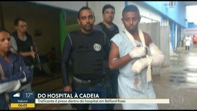Traficante é preso dentro de hospital na Baixada Fluminense - Bruno Rodrigues estava internado para tratar ferimentos na mão e foi levado pra delegacia.