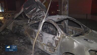 Veículos são queimados após queda de árvore no bairro de Lourdes, em BH - Sete carros ficaram totalmente destruídos e dois tiveram problemas.