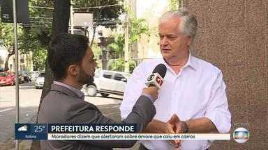 Secretário diz que havia pedido de poda de árvore que caiu e atingiu carros em BH - Entrevista com o secretário municipal de Obras e Infraestrutura, Josué Valadão.