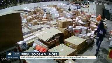 Quadrilha rouba cargas de celulares avaliadas em R$ 6 milhões - Polícia afirma que bandidos fazem parte da mesma quadrilha. As duas cargas roubadas foram para favela Nova Holanda, no Complexo da Maré.