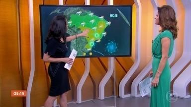 Previsão é de tempo bem estável, seco e muito sol em boa parte do país - Tem previsão de chuva na região Norte, parte do Nordeste e no Espírito Santo. E no sul do Rio Grande do Sul há uma frente fria chegando que vai provocar chuva a partir da noite.