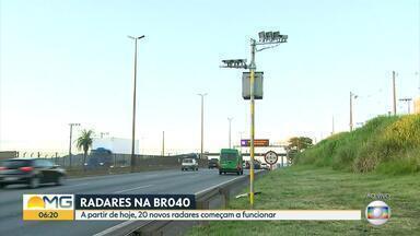 Vinte novos radares começam a funcionar na BR-040, na Grande BH - Muitos foram instalados no trecho do Anel Rodoviário, em Belo Horizonte.