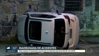 Madrugada de acidentes na Capital - Teve morte por causa de batida, caminhão entalado em túnel e blitz para evitar rachas na cidade