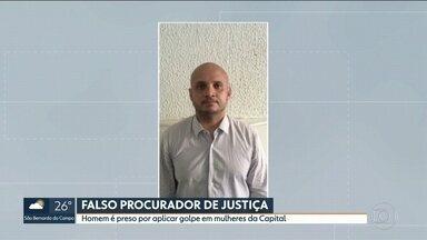 Homem é preso por aplicar golpe em mulheres na capital - A polícia prendeu um homem que se passava por procurador da Justiça para aplicar golpes.