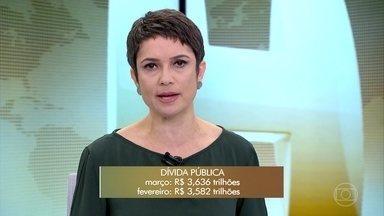 Dívida pública do Brasil cresce 1,51% em março e atinge R$ 3,636 milhões - O aumento foi de aproximadamente R$ 54 bilhões em relação a fevereiro. Segundo o Tesouro Nacional, o governo emitiu mais papéis para captar recursos com investidores.