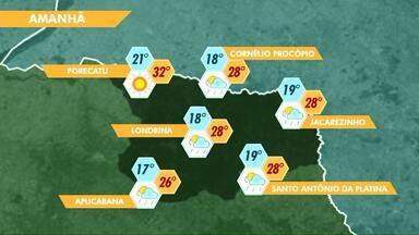 Meteorologia prevê chuvas isoladas nesta quarta-feira (2) na região de Londrina - Mas são chuvas passageiras, sem previsão de grandes volumes.