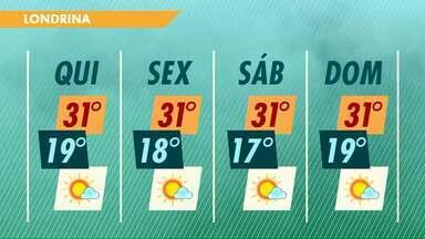 Semana segue ensolarada e quente na região de Londrina - A temperatura máxima nesta quinta-feira (3) pode chegar a 33 graus em Porecatu.