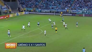 Grêmio goleia o Santos na Arena. Sport vence o Bahia na Ilha do Retiro - Com atuação inspirada de Maicon, gaúchos fazem 5 a 1 no Peixe. Sport supera baianos por 2 a 0.