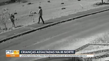 Crianças são assaltadas depois de saírem da escola, em Taguatinga - Na região da M Norte, durante a tarde, ladrão ameaçou as duas crianças de 12 anos com uma faca, levou uma mochila e celulares e fugiu tranquilamente.