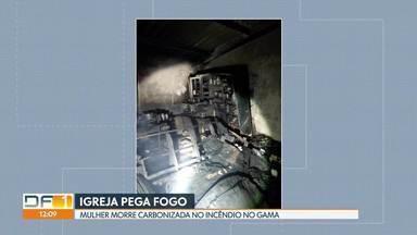 Mulher morre em incêndio numa igreja evangélica do Gama - A mulher de 56 anos e a neta de 13 dormiam na parte superior do prédio, onde funciona uma igreja Assembléia de Deus, na Ponte Alta Sul, no Gama. A adolescente conseguiu escapar e pedir ajuda. A mulher não resistiu aos ferimentos.