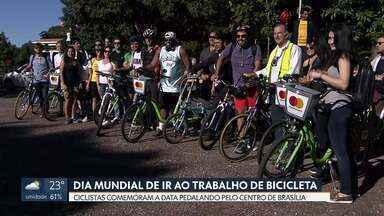 Dia mundial de ir de bicicleta para o trabalho - Para comemorar a data um grupo de ciclistas pedalou pelo centro da cidade para ir ao trabalho.