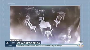 Suspeito de participar de assassinato de policial civil se entrega à Justiça - O crime aconteceu em um bar no bairro Santa Cruz industrial, em Contagem, na Grande BH, há um mês. O policial foi morto com cinco tiros.