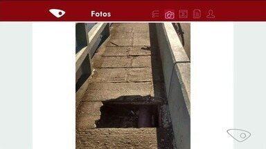 Moradores reclamam de buraco em ponte de Anchieta, ES - Prefeitura não deu retorno sobre situação.