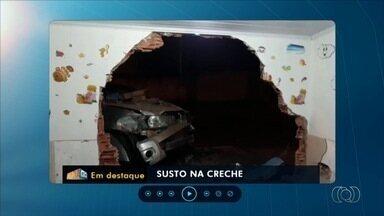 Caminhonete desgovernada destrói parede e invade berçário em Goiânia - Segundo PM, motorista sofreu um mal súbito e não apresentava sinais de embriaguez; conforme a corporação, ninguém se feriu.