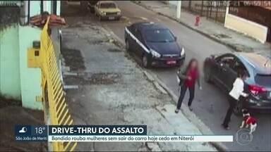 Drive-thru do assalto em Niterói - Bandido nem salta do carro para assaltar mulheres na manhã desta segunda (21) no Fonseca.