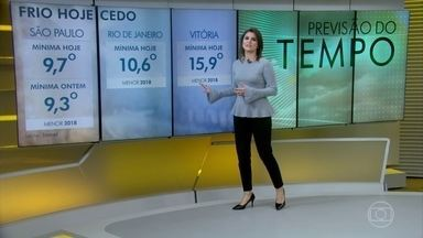 Rio de Janeiro e Vitória batem recorde de frio, nessa terça-feira - Amanhã (23), esfria mais no Sul, com geada generalizada e tarde gelada nas capitais.