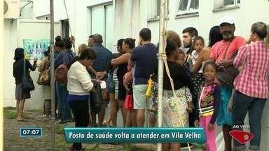 Unidade de saúde volta a funcionar após homem ser baleado no local, em Vila Velha - Por volta das 6h45 desta terça, os pacientes que aguardavam do lado de fora foram liberados a entrar na unidade e esperar atendimento do lado de dentro.