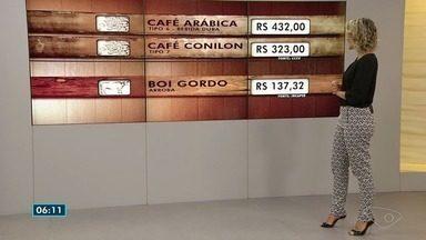Confira a cotação do café e do boi gordo no Espírito Santo - Informações são do Centro do Comércio de Café de Vitória.