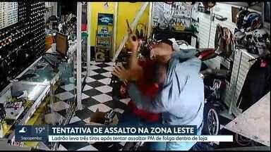 Ladrão leva três tiros após tentar assaltar PM de folga dentro de loja - Assaltante aborou policial militar em uma tentativa de assalto no Itaim Paulista, Zona Leste da capital.