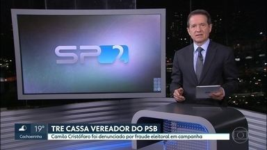A Justiça cassou o mandato do vereador da capital, Camilo Cristófaro, do PSB - O vereador, Camilo Cristófaro, tinha sido denunciado por fraude eleitoral na captação de dinheiro para campanha.