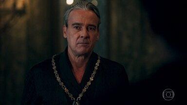 Otávio fica desconfiado ao saber de conversa entre Virgílio e Catarina - Aires comenta com o Rei de Lastrilha que Amália expulsou Catarina de Montemor