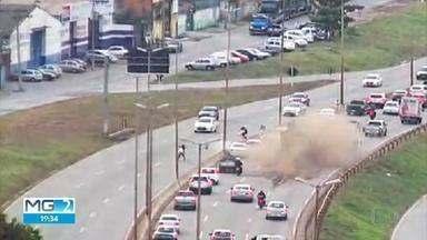 Câmera exclusiva da TV Globo no Anel Rodoviário flagra acidente - Engavetamento aconteceu na descida do bairro Betânia, no sentido Vitória.
