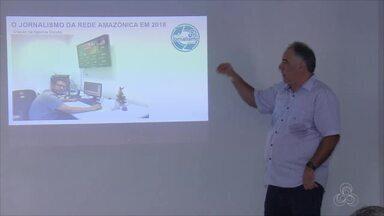 Profissionais da Rede Amazônica no AP participam de encontro sobre conteúdo jornalístico - São dois dias de discussões e trocas de experiências. Um momento para falar dos desafios e da integração das mídias que envolvem a rede. Participam funcionários da TV, do G1 AP e da rádio CBN.