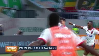 Brasileirão: Palmeiras e Flamengo empatam em São Paulo - Campeonato sofre pausa e retorna após a Copa do Mundo, no dia 18 de Julho. Flamengo lidera com quatro pontos de vantagem.