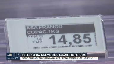 O preço do frango ainda está em alta - Mesmo duas semanas depois do fim da paralisação dos caminhoneiros, consumidores sentem no bolso a alta do preço do frango.