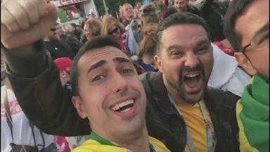 Fala, povão direto da Rússia - Victor, Daniel e Márcio mostraram como foi a comemoraçao dos 5 a 0 da Rússia sobre a Arábia Saudita.