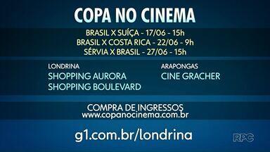 TV Globo vai fazer transmissão para cinemas dos jogos do Brasil na Copa do Mundo - Mais de 280 salas de cinema em todo o país vão transmitir os jogos. O ingresso custa, em média, 40 reais.