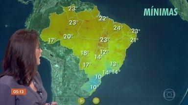 Previsão é de tempo firme em toda a região Sul e Centro-Oeste nesta quarta-feira - A meteorologia prevê chuva no litoral da Bahia, da Paraíba e do Rio Grande do Norte. Nesta quinta-feira, começa o inverno.