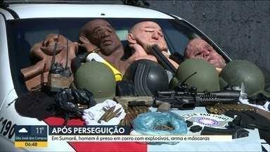 Polícia apreende arsenal com bandidos após perseguição em Sumaré - Explosivos, máscares e rádios comunicadores estão entre os itens apreendidos.