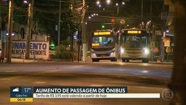 Passagem de ônibus está mais cara no Rio - A justiça derrubou uma decisão liminar e, a partir de hoje, os passageiros já pagam R$ 3,95 pelas viagens na capital.