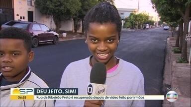Denúncia de repórter mirim dá certo e rua é asfaltada em Ribeirão Preto - Vídeo viralizou na internet e pressionou a prefeitura da cidade a fazer melhorias na região.