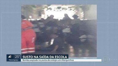 Alunos de escola em Manguinhos foram impedidos de sair da escola por causa da violência - Uma boma explodiu na porta da escola municipal professora Maria de Cerqueira e Silva. A PM confirmou que traficantes entraram em confronto co policiais que faziam patrulhamento de rotina. Não houve feridos.